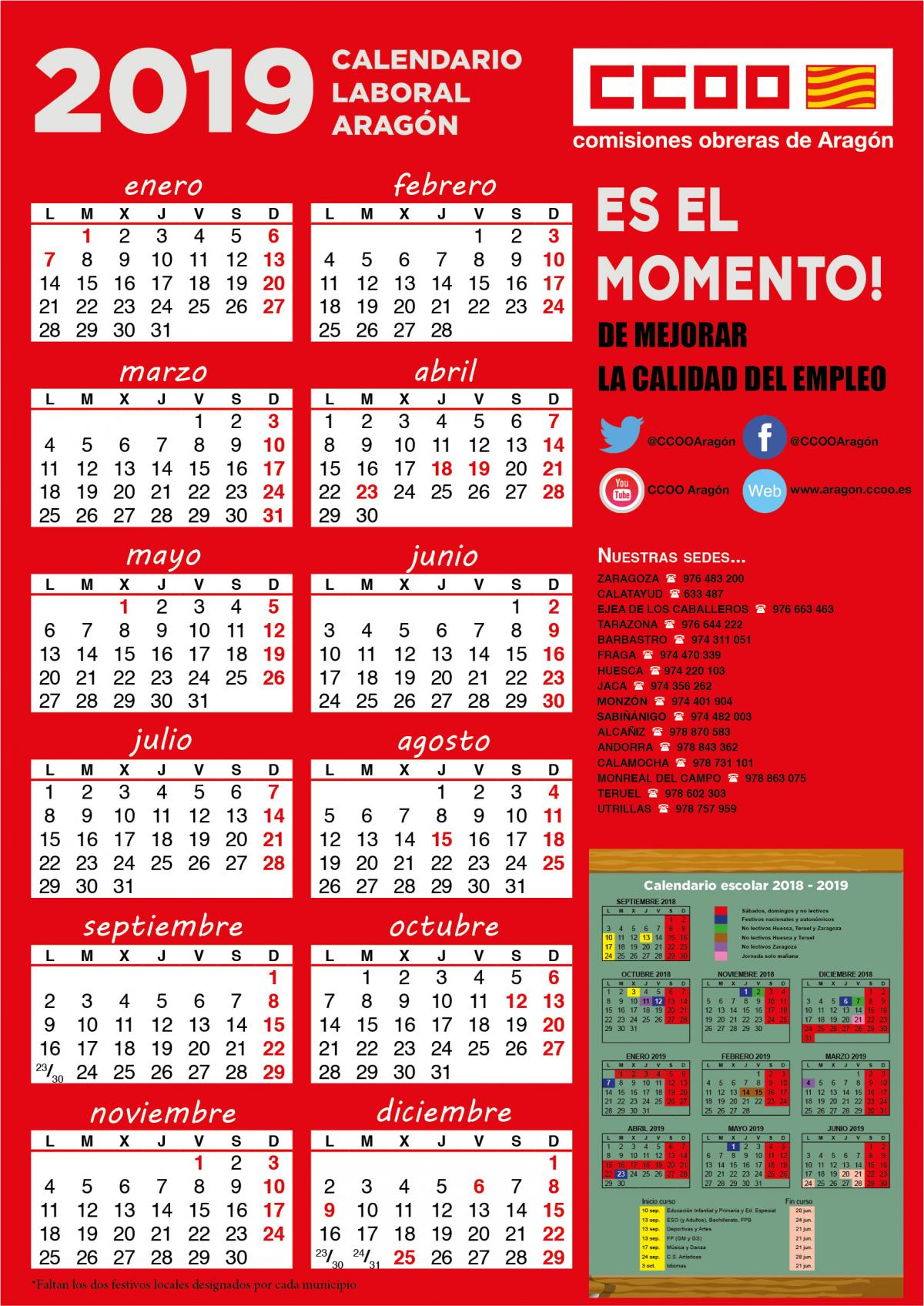 Calendario Laboral Cataluna 2019.Comisiones Obreras De Aragon